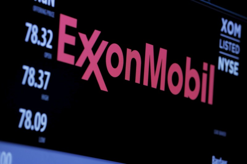 © Reuters. FILE PHOTO - The logo of Exxon Mobil Corporation is shown on a monitor above the floor of the New York Stock Exchange in New York