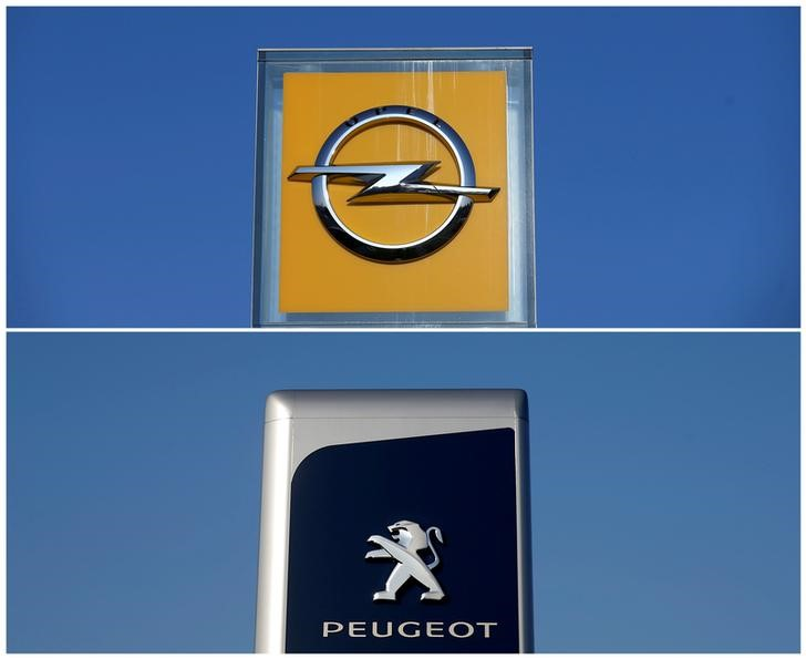 © Reuters. A combination picture shows the logos of Opel and Peugeot car manufacturers at dealerships of the brands in Strasbourg